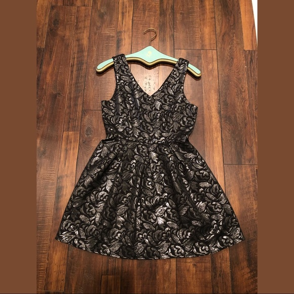 one clothing Dresses & Skirts - Black and Silver Brocade Dress